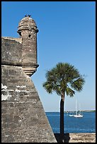 Corner bastion of the Spanish built fort and walls made of coquina masonry units. Castillo de San Marcos National Monument. St Augustine, Florida, USA ( color)