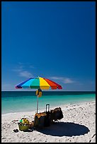 Beach unbrella, blue sky and water, Bahia Honda State Park. The Keys, Florida, USA