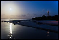 Lighthouse Point and full moon, Sanibel Island. Florida, USA ( color)