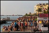 Crowd gathered for sunset in Mallory Square. Key West, Florida, USA ( color)