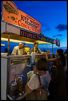 Key West conch fritters food stand at sunset. Key West, Florida, USA ( color)