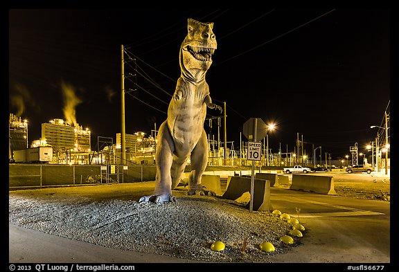 Dinosaur at night, Turkey Point Nuclear power plant. Florida, USA (color)