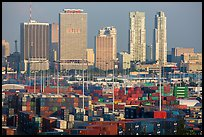 Shipping containers and skyline, Port of Miami. Florida, USA ( color)