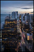 High view of Brickell district and Biscayne Bay at sunset, Miami. Florida, USA ( color)