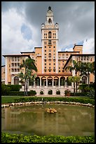 Pond and Miami Biltmore Hotel. Coral Gables, Florida, USA ( color)