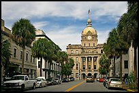 Street and Savannah City Hall. Savannah, Georgia, USA ( color)