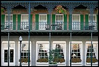Balcony with wrought-iron decor, Marshall House, Savannah oldest hotel. Savannah, Georgia, USA ( color)