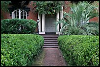 House entrance with garden, historical district. Savannah, Georgia, USA (color)