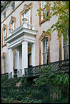 Mansion facade, historical district. Savannah, Georgia, USA (color)