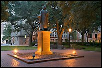 Square with statue of John Wesley at dusk. Savannah, Georgia, USA (color)