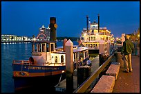 Ferry and riverboat on Savannah River at dusk. Savannah, Georgia, USA ( color)