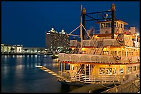 Riverboat and Savannah River at night. Savannah, Georgia, USA ( color)
