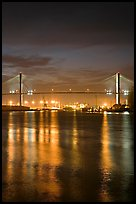 Savannah Bridge and lights at dusk. Savannah, Georgia, USA ( color)