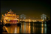 Riverboat, and Savannah Bridge at night. Savannah, Georgia, USA ( color)