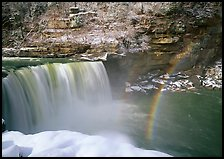 Double rainbow over Cumberland Falls in winter. Kentucky, USA (color)