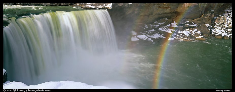 Waterfall and rainbow in winter. Kentucky, USA (color)