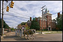 Horse carriage at street intersection. Vicksburg, Mississippi, USA ( color)
