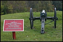 Confederate position marker and cannon, Vicksburg National Military Park. Vicksburg, Mississippi, USA ( color)