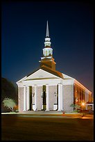 First Baptist Church in Federal style, by night. Natchez, Mississippi, USA ( color)