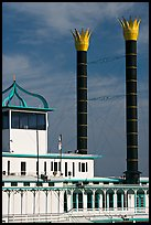 Smokestacks of the Isle of Capri Riverboat. Natchez, Mississippi, USA (color)