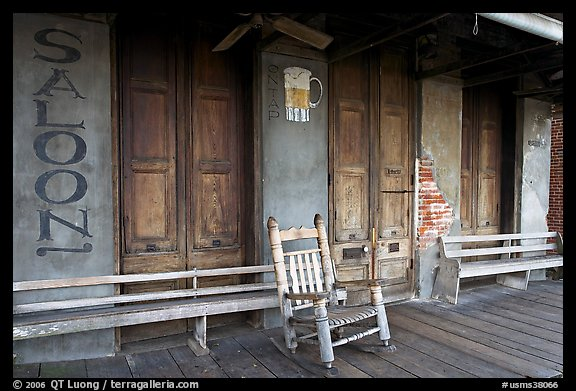 Saloon Porch, Natchez under-the-hill. Natchez, Mississippi, USA