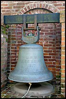 Bell from the USS Mississippi in Rosalie garden. Natchez, Mississippi, USA