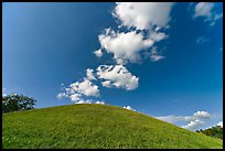 Mound and clouds. Natchez Trace Parkway, Mississippi, USA ( color)