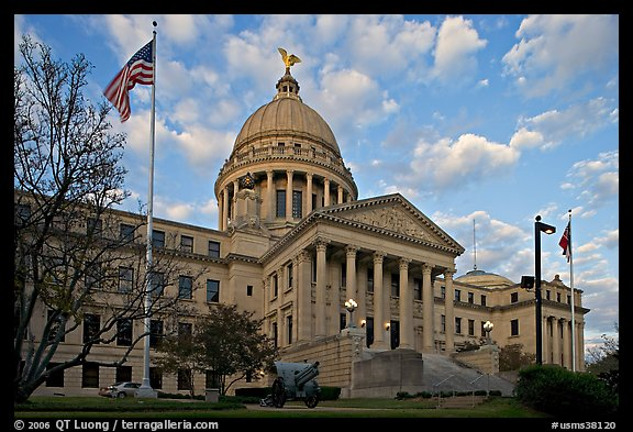 New Mississippi Capitol, sunset. Jackson, Mississippi, USA (color)
