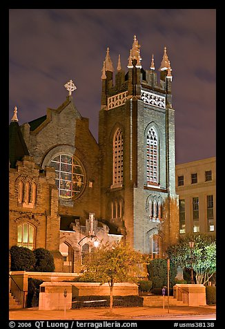 St Andrew Episcopal Cathedral at night. Jackson, Mississippi, USA (color)