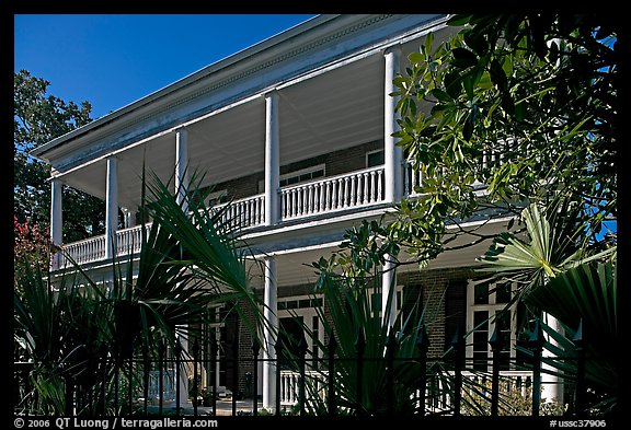 Facade of house with balconies and columns. Charleston, South Carolina, USA