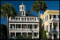 Antebellum house with flag and octogonal tower. Charleston, South Carolina, USA ( color)