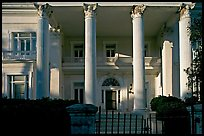 Greek revival facade with weathered  pilars. Charleston, South Carolina, USA ( color)