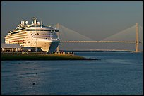 Cruise ship and suspension bridge of Cooper River. Charleston, South Carolina, USA ( color)