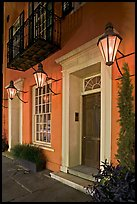 House facade with gas lamps. Charleston, South Carolina, USA ( color)