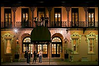 Mills house hotel facade with balconies at night. Charleston, South Carolina, USA ( color)