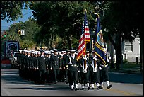 US Navy marching during parade. Beaufort, South Carolina, USA (color)