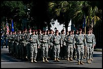 Army men marching during parade. Beaufort, South Carolina, USA (color)