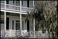 Facade with balconies, columns, and spanish moss. Beaufort, South Carolina, USA ( color)