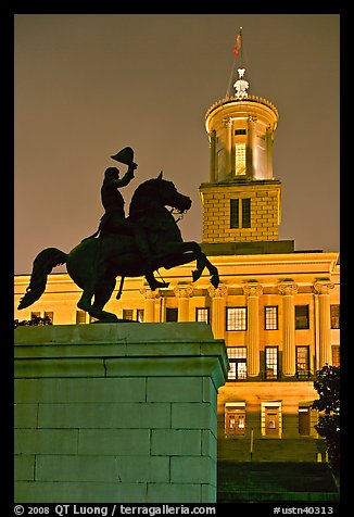 Jackson statue and Tennessee State Capitol by night. Nashville, Tennessee, USA (color)