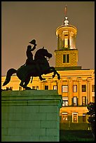 Jackson statue and Tennessee State Capitol by night. Nashville, Tennessee, USA ( color)