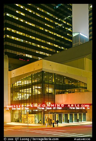 Tennessee Performing Arts Center and downtown buildings. Nashville, Tennessee, USA