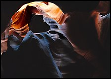 Sandstone walls sculpted by fast moving water, Upper Antelope Canyon. USA ( color)
