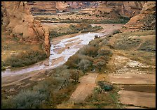 Farm on the valley floor of Canyon de Chelly. Canyon de Chelly  National Monument, Arizona, USA ( color)