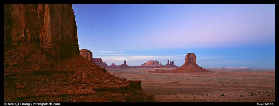 Monument Valley scenery at dusk. Monument Valley Tribal Park, Navajo Nation, Arizona and Utah, USA (color)