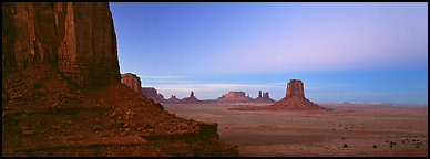 Monument Valley scenery at dusk. Monument Valley Tribal Park, Navajo Nation, Arizona and Utah, USA (Panoramic color)