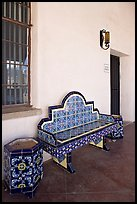 Ceramic bench in the courtyard, San Xavier del Bac Mission. Tucson, Arizona, USA