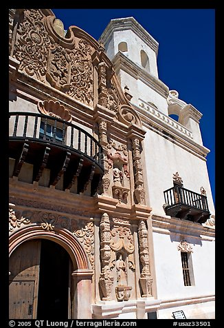 Facade and tower, San Xavier del Bac Mission. Tucson, Arizona, USA