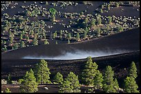 Steam rising from cinder landscape, Sunset Crater Volcano National Monument. Arizona, USA
