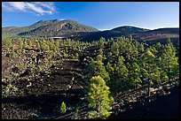 Volcanic hills covered with black lava and cinder, Sunset Crater Volcano National Monument. Arizona, USA
