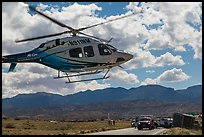 Helicopter at road accident site. Four Corners Monument, Arizona, USA (color)